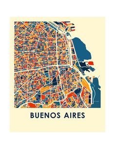 Our Buenos Aires map print illustrates the geography and patterns of this great metropolis.  This bold and colorful map print will fit your decor, for home or office.  The Buenos Aires map is printed in high saturation ink on bright white gloss paper. Print size higher than 13x19 are printed on semi-gloss paper.  The data used to create this map comes from OpenStreetMap and is under Creative Commons 2.0 license.  Price showed is for a 8.5x11 inch print and does not include the frame. You…