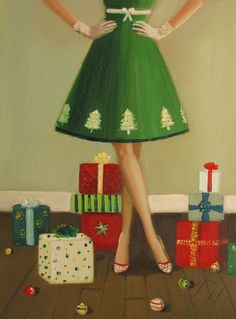 Her+Christmas+Tree+Dress+Was+The+Highlight+Of+by+janethillstudio,+$26.00