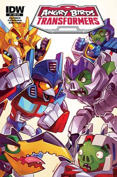"""biggoonie: """" Angry Birds/Transformers #3 by Marcelo Ferreira Subscription variant by Sarah Stone """" Angry Birds/Transformers #3 (of 4) John Barber (w) • Marcelo Ferreira (a & c) RAMP-EGG! When the..."""
