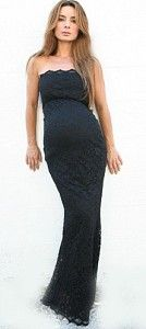3c3661a213762 Classy and elegant this black, long strapless lace maternity gown is  incredible. It is the perfect form fitting black maternity dress that will  flawlessly ...