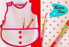 Retro Fun: Toddler's Laminated Project Apron http://sew4home.com/projects/kitchen-linens/573-retro-fun-little-kids-laminated-project-apron