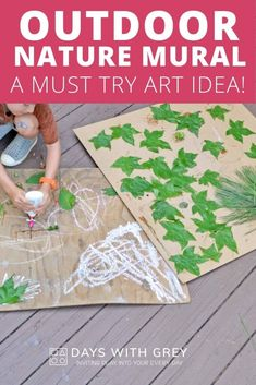 Nature Murals; An Outdoor Art Idea Outdoor Games For Toddlers, Free Activities For Kids, Indoor Activities, Preschool Art, Preschool Activities, Preschool Classroom, Outdoor Paint, Outdoor Play, Art Cart