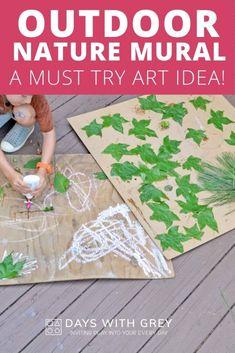 Nature Murals; An Outdoor Art Idea Outdoor Games For Toddlers, Free Activities For Kids, Indoor Activities, Preschool Art, Preschool Activities, Preschool Classroom, Outdoor Paint, Outdoor Play, Backyard Play