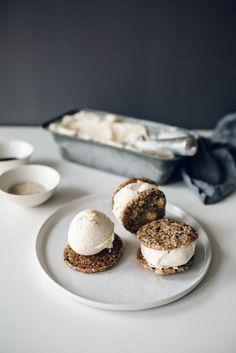 Coconut Ice Cream Cookie Sandwich | Jet & Indigo