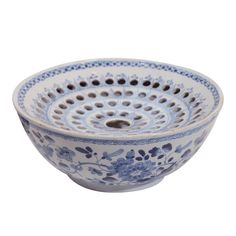 A Rare Blue and White Dutch Delft Flower Bowl (Tulipiere) | From a unique collection of antique and modern bowls at https://www.1stdibs.com/furniture/dining-entertaining/bowls/