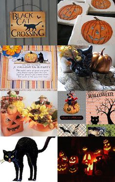 Black Cat Crossing - RDTTeam by Marsha on #Etsy #halloween