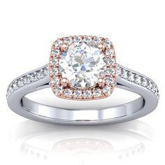 Two Tone Rose Gold Halo Engagement Ring Setting - White Gold ShankDirect Engagement Rings