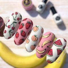 Fruit Nail Designs, Acrylic Nail Designs, Watermelon Nail Designs, Summer Acrylic Nails, Best Acrylic Nails, Matte Nail Art, Pastel Nails, Stylish Nails, Trendy Nails