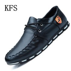 2016 New Fashion Men Loafers Luxury Brand Casual Lace-Up Leather Flats Shoes  Men Lightweight f8d58f809eb