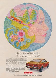 1972 Nissan Datsun Car Ad 1200 Sports Coupe Vintage Advertising Pointillism Art Automobile Illustration Print Spring Wall Decor