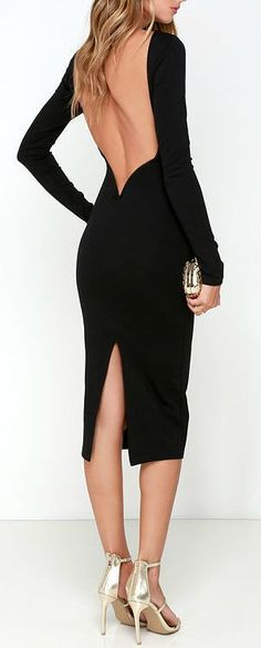 Va Va Voom Black Backless Midi Dress