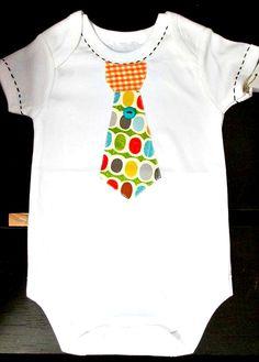 Robin Wren Designs Tie Applique Onesie $26