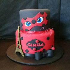 Miraculous ladybug cake - Famous Last Words Bug Birthday Cakes, Barbie Birthday, Frozen Birthday, 2nd Birthday, Male Birthday, Miraculous Ladybug Party, Ladybug Cakes, Ladybug 2, Bubble Guppies Birthday