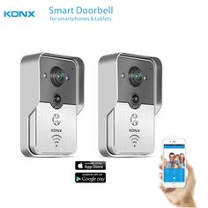 2017 KONX WiFi Wireless Video Door Phone intercom Doorbell peephole Camera PIR IR Night Vision Alarm Android IOS Smart Home 2PCS