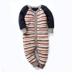 Vêtements de bébé Nouveau-Né Bébé Barboteuse D'hiver Bébé Fille Garçon Vêtements Costume Salopette à Rayures Chandail Habineige ropa bebes Bébé Vêtements