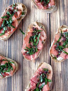 Goat Cheese And Prosciutto Crostini | YummyAddiction.com Didn't have prosciutto but used crumbled bacon & sliced ham instead, so good!!
