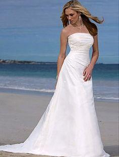 A-line Strapless Chapel Train Sleeveless Taffeta Beach Wedding Dress For Brides