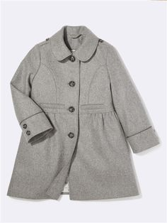 MANTEAU FILLE LAINE MARINE+GRIS MOYEN Kids Wardrobe, Rompers, Coat, Jackets, Inspiration, Dresses, Fashion, Gray, Coats