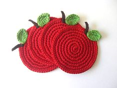 Red Apple Coasters . As Featured on Etsy Finds. Cherry, Wine Carmin Scarlet. Beverage, Green, Decor Crochet Fruit Collection - Set of 4