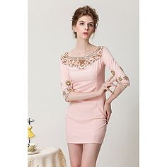 Women's Elegant Embroidery And Nail Bead Slim Fit Dress – USD $ 44.79