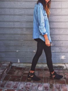 oversized jean shirt + black leggings +  scarf tied in a circle + boots/wedges