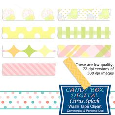 Summer Lemonade Digital Washi Tape Clipart by CandyBoxDigital.  Great clip art for digital scrapbooks and journals, blogs and websites. At our Etsy shop.