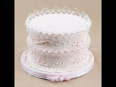 How to Create a Royal Icing Enchanted Cake. With the summer wedding season in full bloom I thought it would be apropos to share this elegant wedding cake. Completely decorated using royal icing techniques: Combining delicate oriental string work, brush Royal Icing Piping, Royal Icing Cakes, Royal Icing Flowers, Cake Piping, Cake Flowers, Textured Wedding Cakes, Elegant Wedding Cakes, Beautiful Wedding Cakes, Gorgeous Cakes