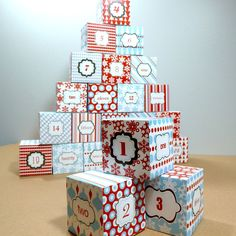 DIY Advent Calendar Cube Boxes - Printable PDF Templates - Red and Blue Christmas. $5.00, via Etsy.