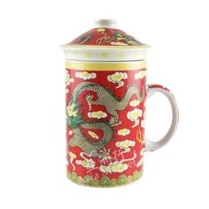Oriental Cup with Lid Dragon Red style