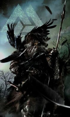 Odin and his two ravens Huginn and Muninn