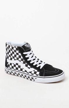 d85e40447f23 Vans Sk8-Hi Reissue Checkerboard Black   White Shoes Vans Sk8 Hi Reissue