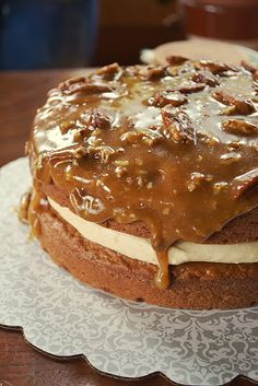 Gluten Free Gypsy: Pumpkin Cake with Cream Cheese Mousse and Maple Pecan Caramel