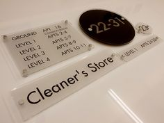 Commercial Building signs - floor level signage - cleaners store - toilets - room numbers - floor plans - way finders - lobby signs - directory signs http://www.de-signage.com/Officesigns.php