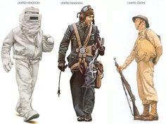 World War II Uniforms - United Kingdom – 1945 June, Malaya, Firefighting Private, South-East Asia Command United Kingdom – 1940, Battle Of Britain, Pilot, RAF United States – 1941 Dec., Wake Island, Private, 1st Marine Defence Battalion
