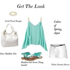 Women's fashion, green kerchief top, ivory tote, white shorts, gold bangle,