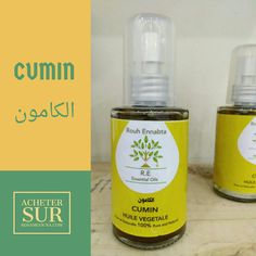 Cumin Cuminum cyminum  PROPRIETES PRINCIPALES  Calmante-stupéfiante, anti-inflammatoire, anti-spasmodique, tonique et stimulante digestive, apéritive, carminative.  PROPRIETES EN APPLICATION CUTANEE (MASSAGE)  Ballonnements, aérophagie, colite, colique, constipation, digestion difficile ou lente, spasmes intestinaux, métrorragie, règles absentes, règles insuffisantes, hyperthyroïdie, sommeil perturbé, insomnies, stress, surmenage.  PROPRIETES EN DIFFUSION ATMOSPHERIQUE  Mal des transports…