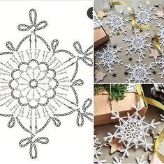 Filet Crochet, Crochet Motif, Crochet Doilies, Crochet Stitches, Crochet Patterns, Crochet Snowflake Pattern, Crochet Stars, Crochet Snowflakes, Christmas Crafts