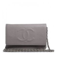 CHANEL Caviar Timeless Wallet on Chain WOC Light Grey ❤ liked on Polyvore featuring bags, genuine leather bag, leather bags, chanel, chanel bags and stitch bag