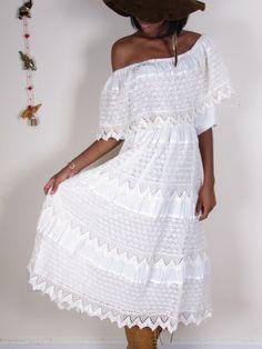 Cute Vintage White Crochet Mexican Wedding Bridal by stellahsgroove