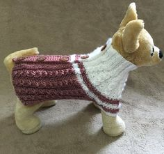 This outfit is perfect for your Chihuahua, Poodle,Yorkie or small dog  Exclusive 100% hand-knit Original Design Sweater goes with buttons(easy to put your dog on)  Sweater Size- XS -Back-9-10(+collar2); Chest-12 -13 Machine Wash & Dry.  Ready to Ship.