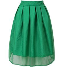 Choies Green Sheer Organza Overlay Skater Midi Skirt ($18) ❤ liked on Polyvore