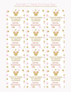 Gold Glitter and Pink Minnie Mouse Birthday Party by Honeyprint