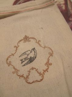 Hand Stamped Muslin Gift Bags  Bird  Ornate by frenchcountry1908, $6.75