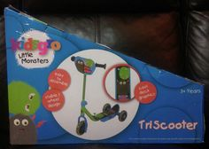 NEW in box children s Kidsgro little monsters blue tri scooter 3+ years 3 wheels