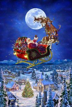 Merry Christmas Gif, Christmas Scenery, Noel Christmas, Christmas Pictures, Winter Christmas, Vintage Christmas, Christmas Crafts, Xmas, Santa And Reindeer