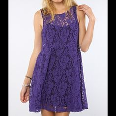 Free People The Miles of Lace Tank Dress Royal Boldly patterned floral lace twists over a mesh background on this airy Free People dress, detailed with contrast jersey lining.  Fabric: Lace. Shell: 70% cotton/30% nylon. Lining: 100% rayon. Wash cold. Imported.  MEASUREMENTS Length: 31in / 79cm, from shoulder Free People Dresses