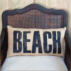 Beach  - Burlap  Pillow. $30.00, via Etsy.