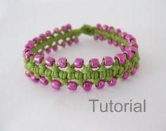 Regalo de Navidad rosa pulsera patrón macrame verde tutorial pdf de cuentas como nudo makrame micro tuto instrucciones fácil paso a paso la joyería diy