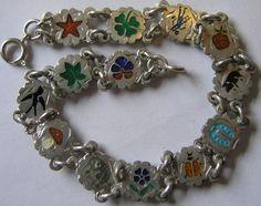 Antique German Silver Enamel Charm Bracelet w 13 Charms Swallow Clover Pansy | eBay