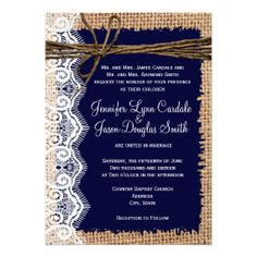 Rustic Country Burlap Lace Twine Wedding Invites????????????maybe???????